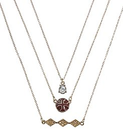Holiday Red And Goldtone Cross Trio Necklace Set