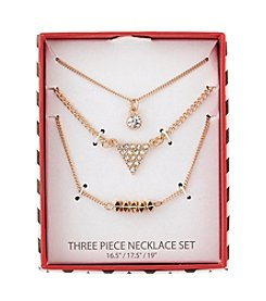 Holiday Crystal And Goldtone Geometric Trio Necklace Set