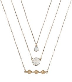 Holiday White And Goldtone Cross Trio Necklace Set