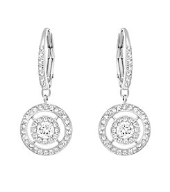 Swarovski® Silvertone Attract Light Double Halo Earrings