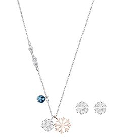 Swarovski® Rose Goldtone Duo Snowflake Pendant Necklace And Earrings Set