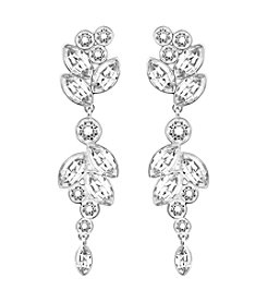 Swarovski Silvertone Diapason Crystal Motif Earrings