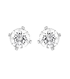 Swarovski® Silvertone Attract Pearl Pierced Earrings