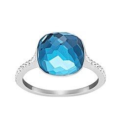 Swarovski® Silvertone Blue Crystal Dot Ring