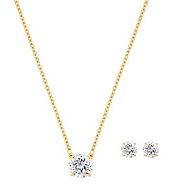 Swarovski® Goldtone Attract Round Pendant Necklace And Pierced Earrings Set