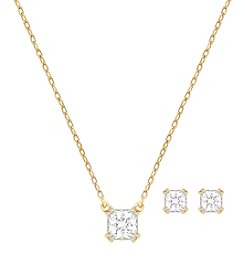 Swarovski® Goldtone Attract Square Pendant Necklace And Pierced Earrings Set
