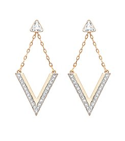 Swarovski® Goldtone Delta V Earrings