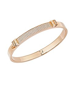 Swarovski® Rose Goldtone Distinct Double Buckle Bangle Bracelet