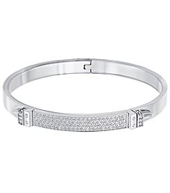 Swarovski® Silvertone Distinct Double Buckle Bangle Bracelet