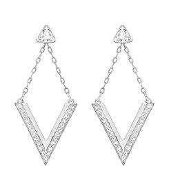 Swarovski® Silvertone Delta V Earrings