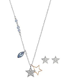 Swarovski® Two-Tone Duo Star Necklace and Earrings Set