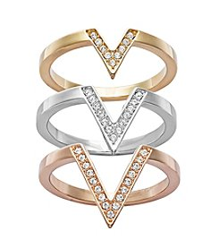 Swarovski® Tri Tone Delta Ring Set