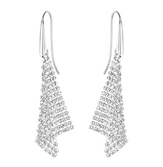 Swarovski® Silvertone Fit Triangle Crystal Mesh Earrings
