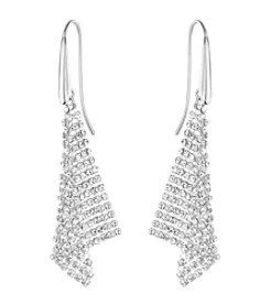 Swarovski® Silvertone Fit Triangle Crystal Mesh Earrings
