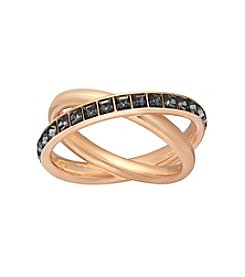 Swarovski® Rose Goldtone Dynamic Dark Crystal Ring