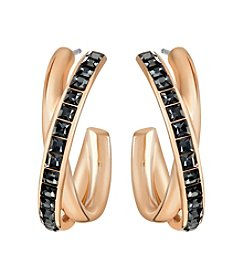 Swarovski® Rose Goldtone Dynamic Hoop Pierced Earrings