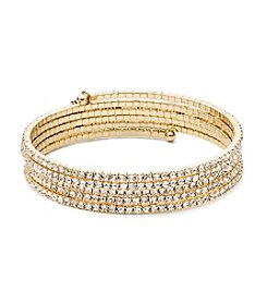 Anne Klein® Goldtone Simulated Crystal Coil Bracelet