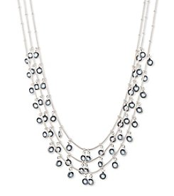 Anne Klein® Silvertone Blue Shaky Necklace
