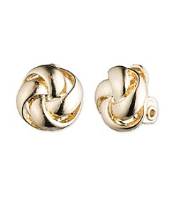 Anne Klein® Goldtone Knot Clip On Earrings