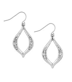 The Sak® Silvertone Open Pave Drop Earrings