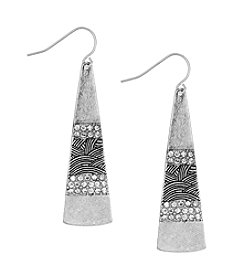 The Sak® Silvertone Pave Paddle Drop Earrings