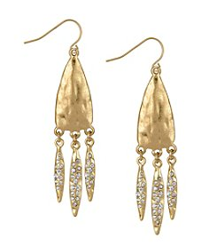 The Sak® Goldtone Pave Three Leaf Drop Earrings