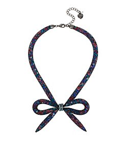 Betsey Johnson® Hematite Tone Mesh Bow Frontal Necklace