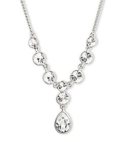 Givenchy® Silvertone Crystal Y Necklace