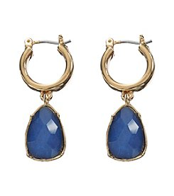 Lauren Ralph Lauren Goldtone Haute Holiday Blue/Gold Small Click-It Hoop Earrings
