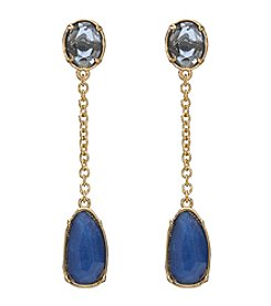 Lauren Ralph Lauren Goldtone Haute Holiday Blue Multi-Faceted Stone Chain Earrings