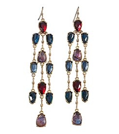 Lauren Ralph Lauren Goldtone Haute Holiday Multicolor Faceted Stone Chain French Wire Earrings