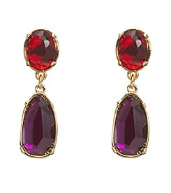 Lauren Ralph Lauren Goldtone Haute Holiday Red Multicolored Faceted Stone Earrings