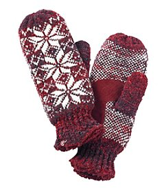 Isotoner Signature® Snowflake Knit Mittens With Suede Palm Patch