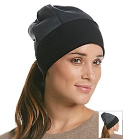Isotoner® Signature Heathered Softshell Slouchy Hat With Ponytail Opening