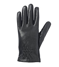 Isotoner Signature® smarTouch® Stretch Leather with Partial Back Gather Gloves