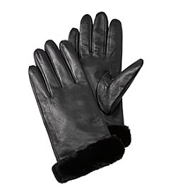Isotoner Signature® Leather Gloves With Faux Fur Spill