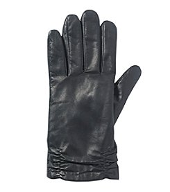 Isotoner Signature® Leather Gloves With Ruched Cuff