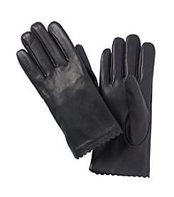 Isotoner Signature® Scalloped Edge Leather Gloves With Perf Detail
