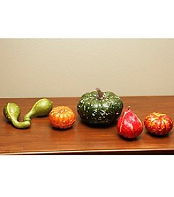 Set of 6 Thanksgiving Fall Harvest Artificial Gourds and Pumpkins