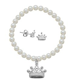 Sterling Silver Cubic Zirconia Crown Earrings & Pearl Bracelet Set
