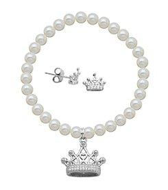 Sterling Silver Cubic Zirconia Crown Earrings & Pearl Bracelet Set