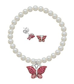 Sterling Silver Rose Swarovski® Crystal Butterfly Earrings & Pearl Bracelet Set