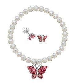 Sterling Silver Rose Swarovski® Crystal Butterfly Earrings & Pearl Bracelet Set