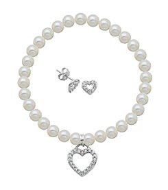 Sterling Silver Swarovski® Crystal Open Heart Earrings & Pearl Bracelet Set