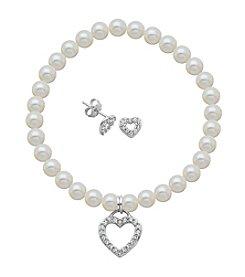 Sterling Silver Swarovski® Crystal Open Heart Earrings & Pearl Bracelet Set
