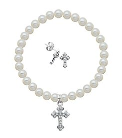 Sterling Silver Swarovski® Crystal Cross Earrings & Pearl Bracelet Set