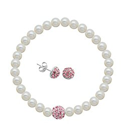 Sterling Silver Rose Swarovski® Stud Earrings & Pearl Bracelet Set