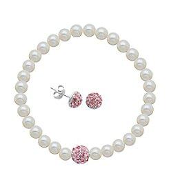 Sterling Silver Rose Swarovski® Stud Earrings & Pearl Bracelet Set