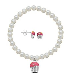 Sterling Silver Multicolor Swarovski® Crystal Cupcake Earrings & Pearl Bracelet Set