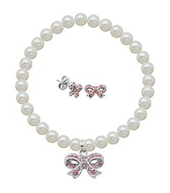 Sterling Silver Rose Swarovski® Bow Stud Earrings & Pearl Bracelet Set